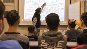 Aula con alumnos bajo el proyecto 'Sostre 360'.