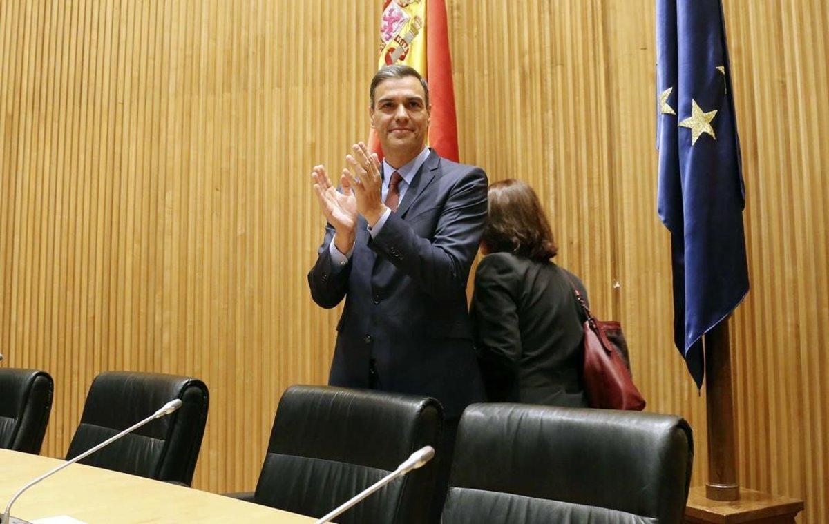 Pedro Sánchez, antes de la constitución de la cámara baja.