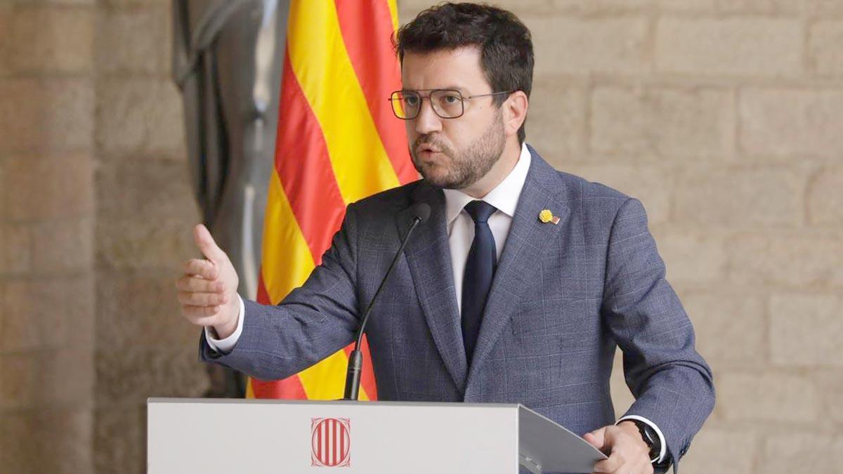 Pere Aragonès, en su comparecencia en la Generalitat.