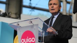 El secretario de Estado de Transportes, Pedro Saura, en el acto previo al viaje inaugural de Ouigo de Madrid a Barcelona.