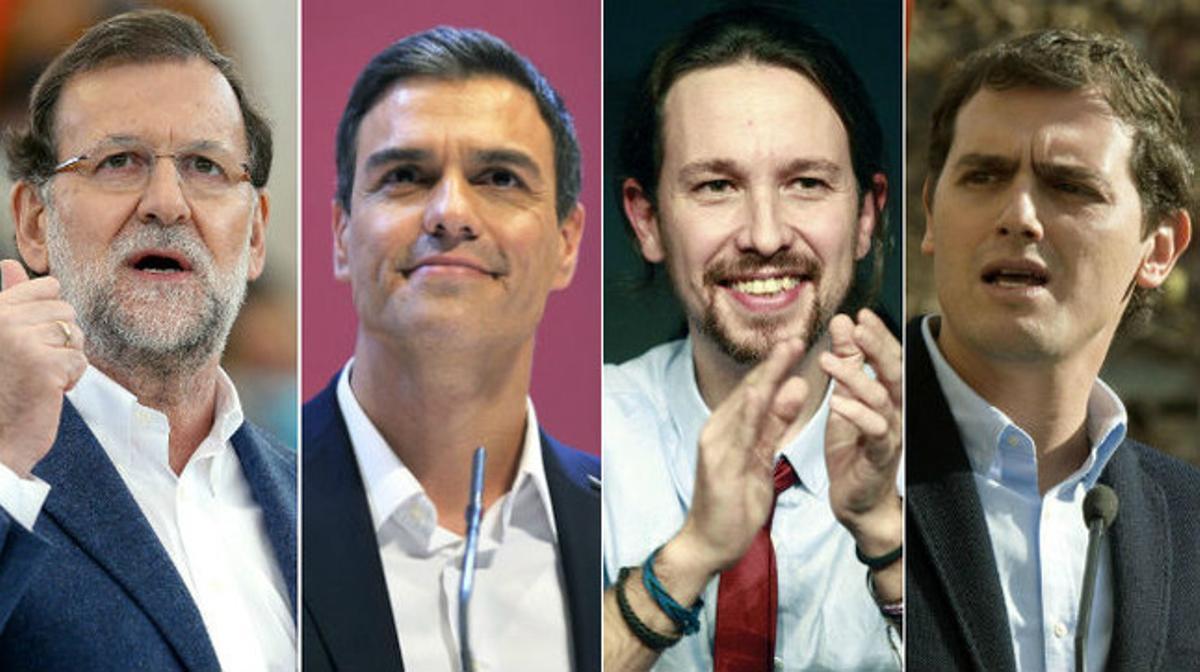 Mariano Rajoy, Pedro Sánchez, Pablo Iglesias y Albert Rivera.
