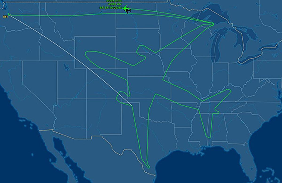 La silueta del nuevo avión Dreamliner 787.
