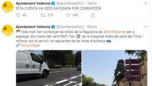 Hackeo de la cuenta del Ayuntamiento de València.