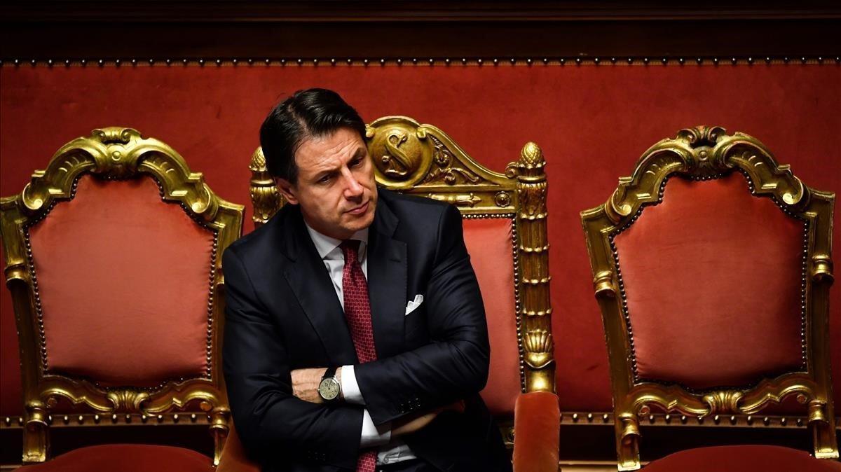 Giuseppe Conte, este martes, en el Senado tras presentar su dimisión.
