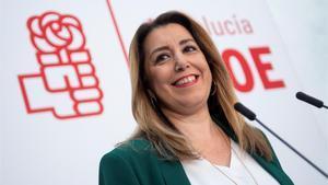 La presidenta andaluza en funciones, Susana Díaz, en una rueda de prensa.