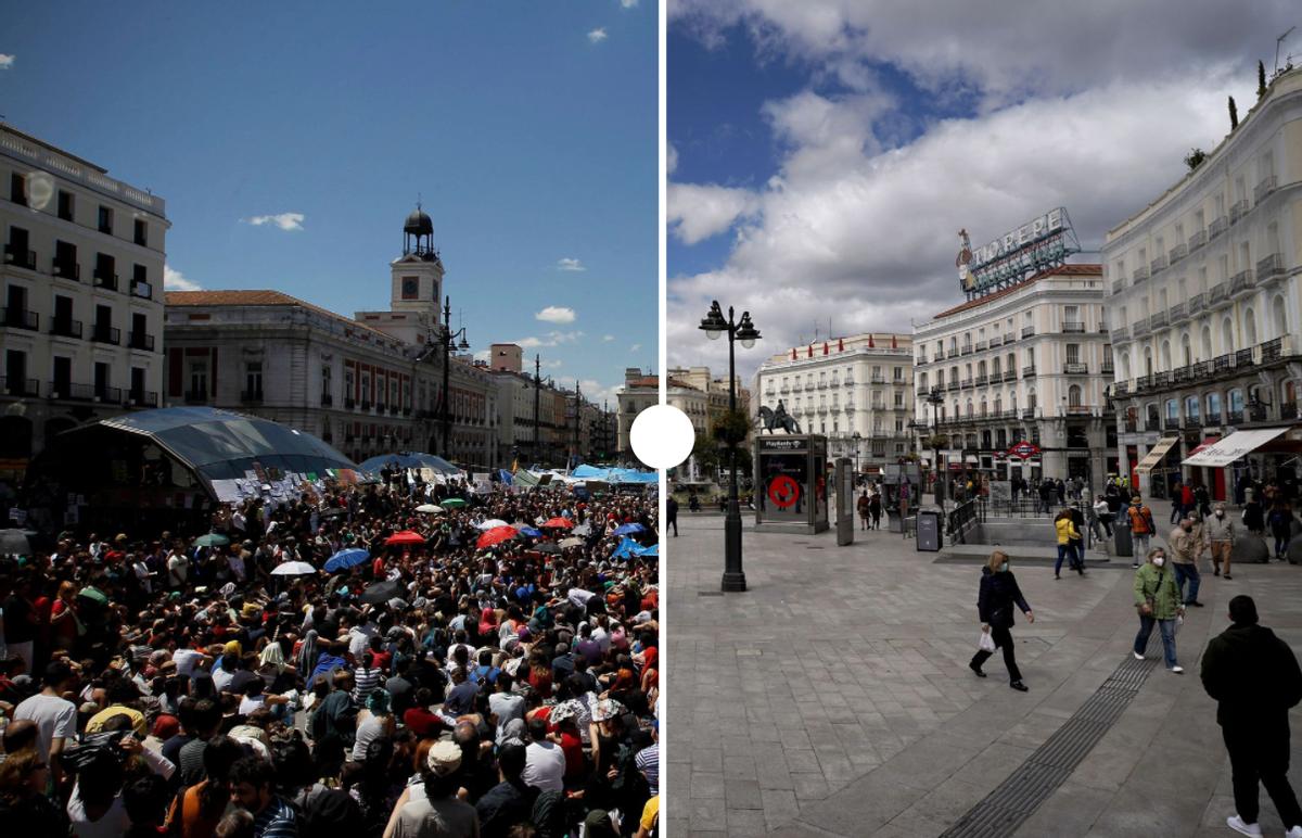 La plaza del Sol, en 2011 y ahora