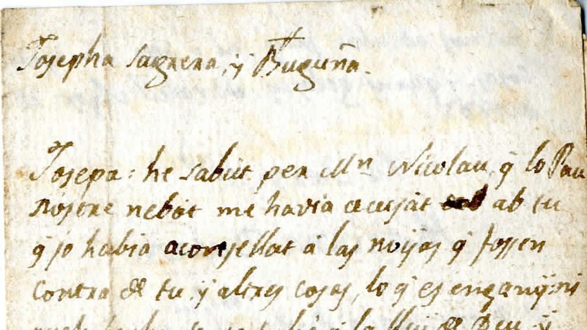 Carta enviada a Sabadell en 1803.