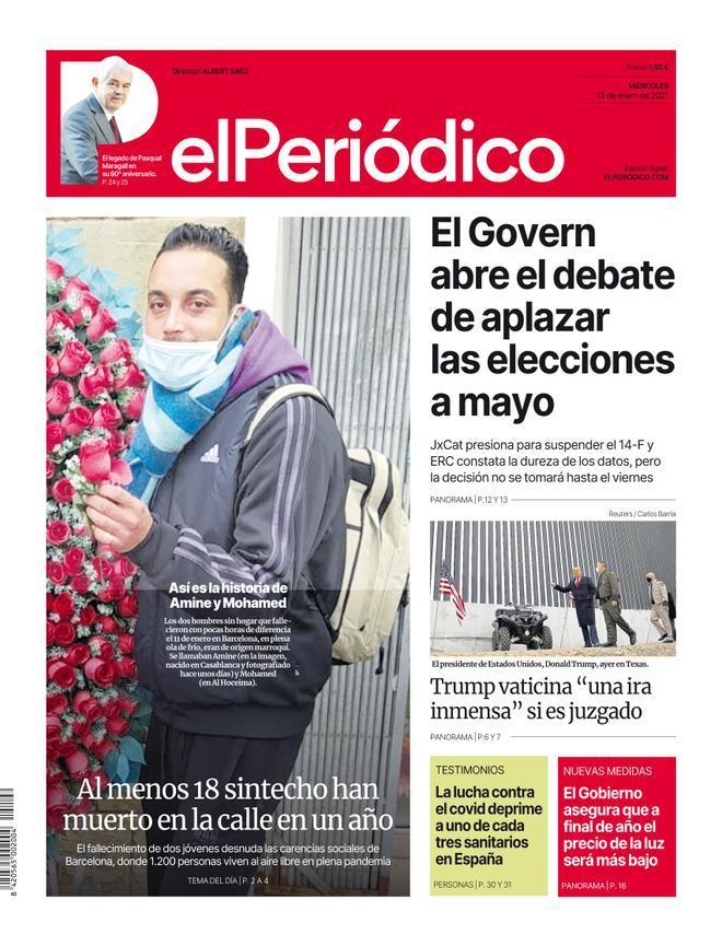 La portada de EL PERIÓDICO del 13 de enero de 2021.