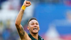 Neymar, feliz tras la victoria ante México.