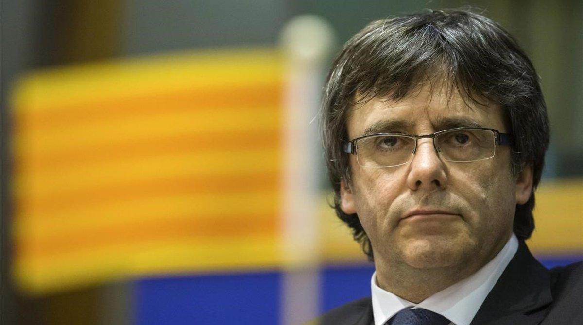 Puigdemont, durante su comparecencia en el Parlamento Europeo.