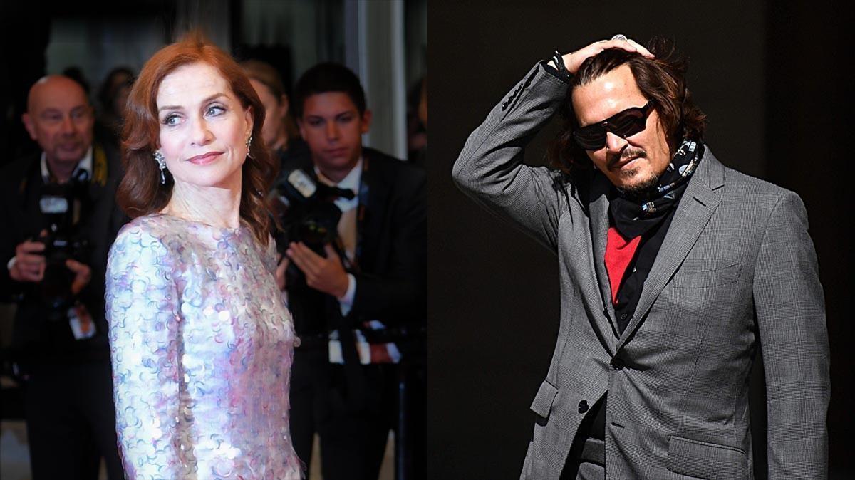 La actriz francesa Isabelle Huppert y el actor estadounidense Johnny Depp