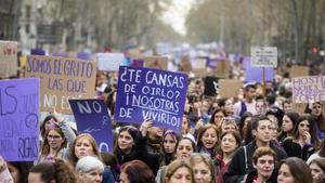 Manifestación feminista en Barcelona, el pasado 8 de marzo.