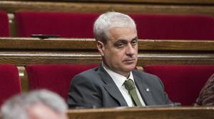 El 'exconseller' de Justícia Germà Gordó, en su escaño del Parlament.