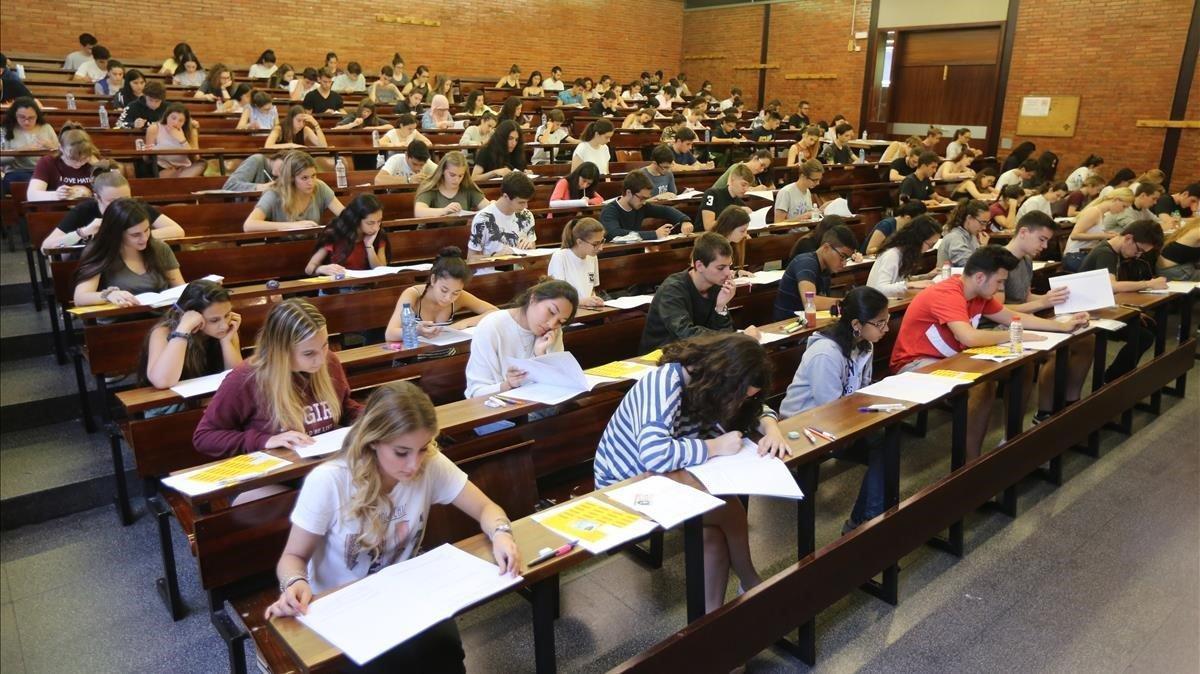 Pruebas de acceso a la universidad en Barcelona, en una imagen de archivo.