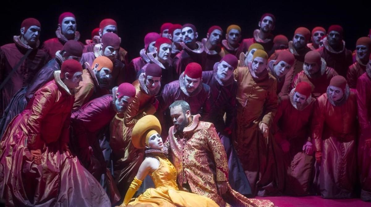El tenor Javier Camarena (Duque de Mantua)una escena de 'Riglotetto'.