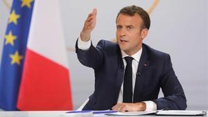 Emmanuel Macron, en una rueda de prensa en el Elíseo, el pasado abril.