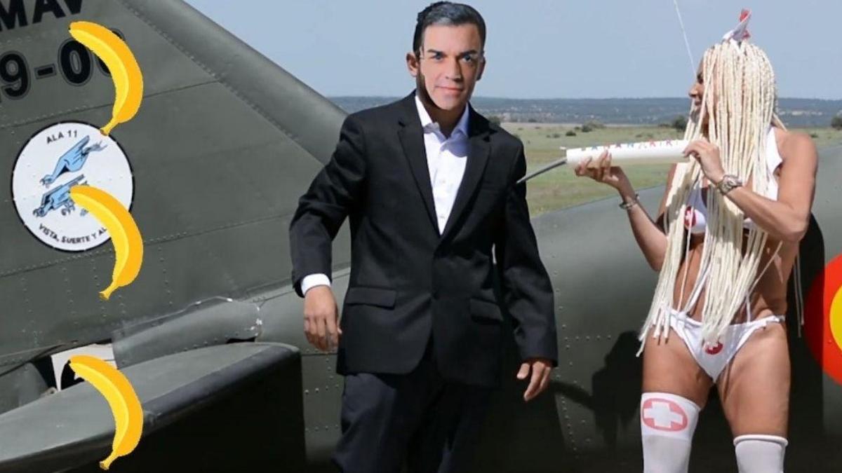 Leticia Sabeter vacuna al presidente del Gobierno, Pedro Sánchez, en su videoclip 'La bananakiki'