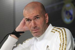 El entrenador del Madrid, Zinedine Zidane, este sábado en rueda de prensa.
