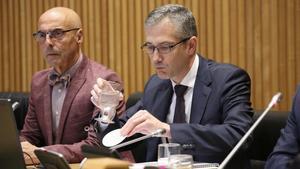 El gobernador del Banco de España, Pablo Hernández de Cos, en la Comisión de Presupuestos del Congreso de los Diputados.