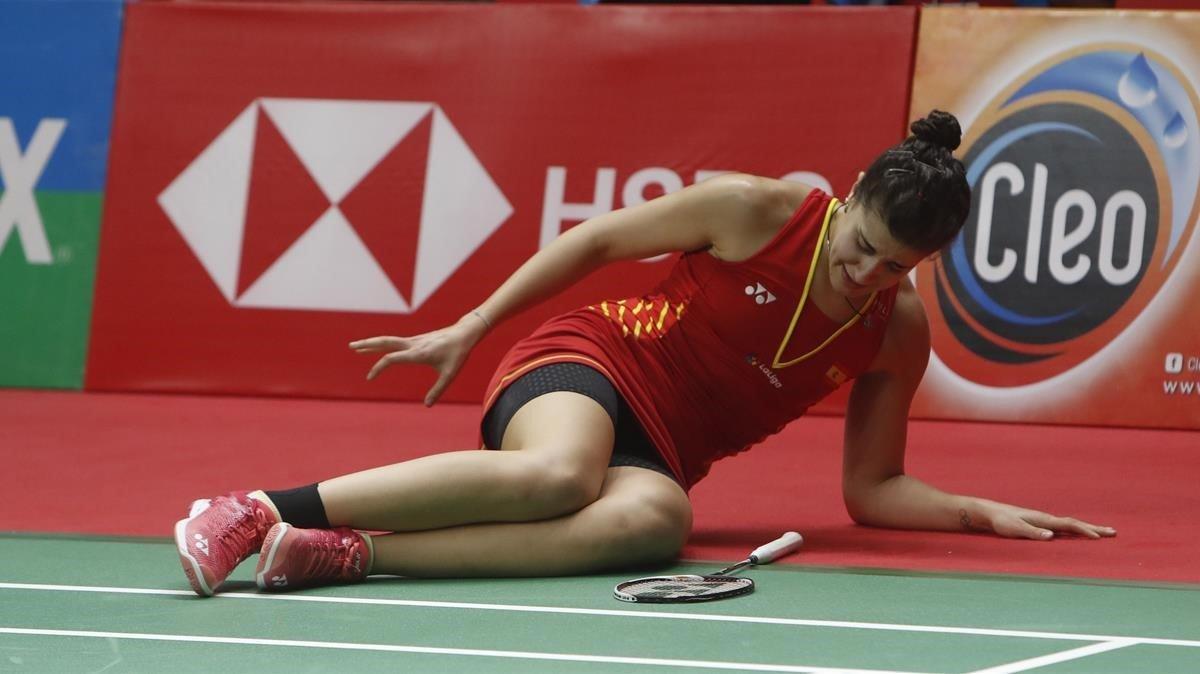 Carolina Marín, en el instante en que se lesionó en Yakarta.