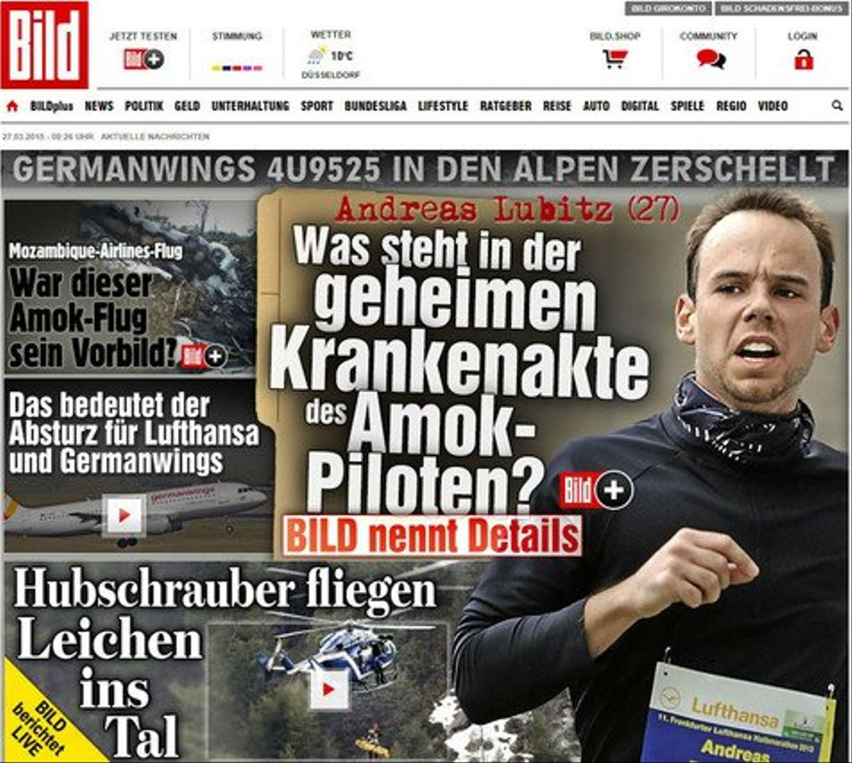 La portada del sensacionalista 'Bild', con una foto de Andreas Lubitz y el titular 'Amok-piloten', 'piloto psicópata'.