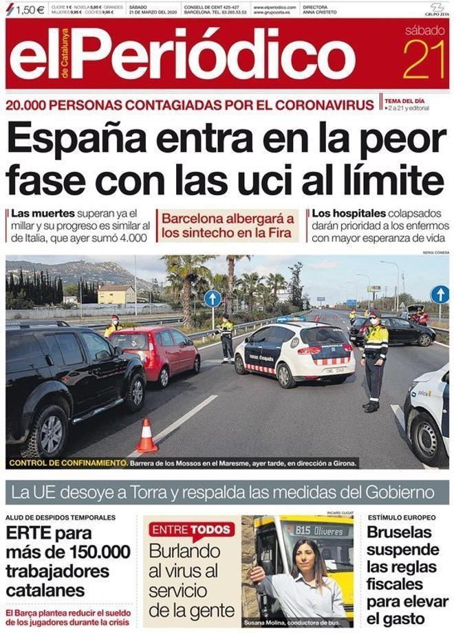 Prensa de hoy: Las portadas de los periódicos del sábado 21 de marzo del 2020