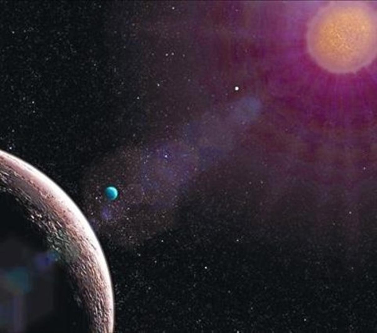 Simulación del sistema estelar Gliese con el planeta más pequeño confirmado hasta la fecha: Gliese e.
