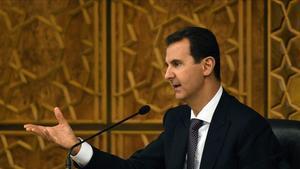 El presidente Sirio en una reunión de su partido en Damasco