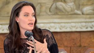 Angelina Jolie, en una rueda de prensa para presentar su película.