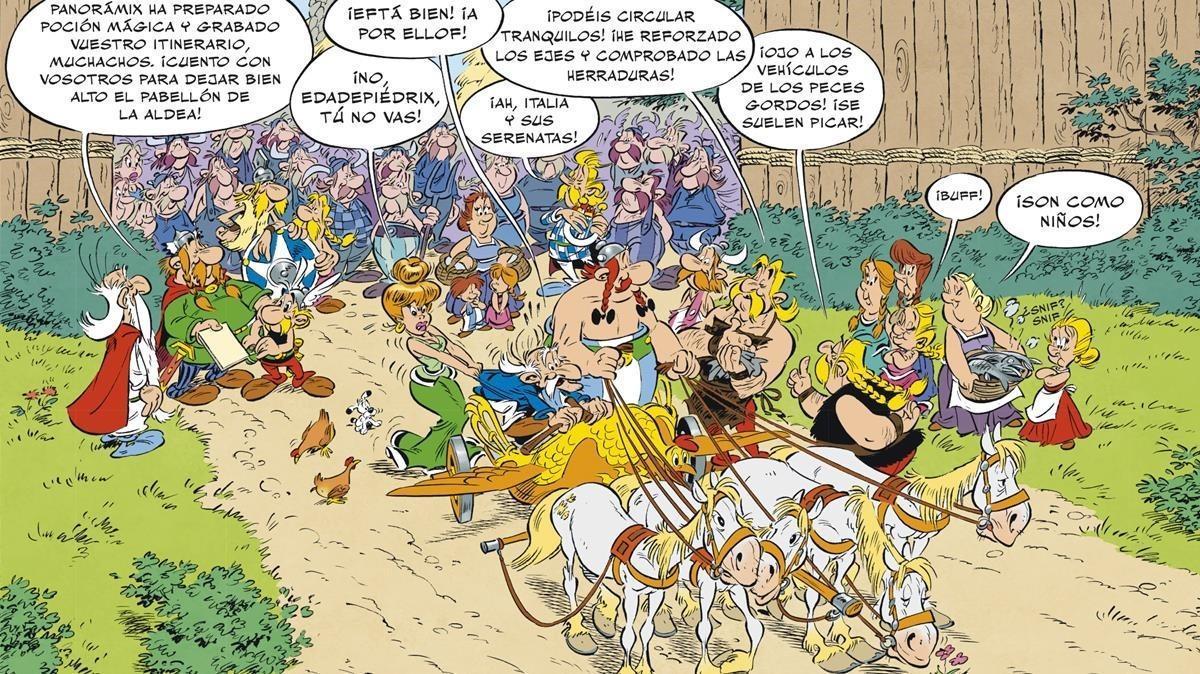 Viñeta de 'Astérix en Italia', el nuevo álbum de los irreductibles galos firmado por Jean-YvesFerri y Didier Conrad.