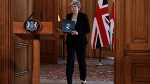 Theresa May este martes tras la reunión de su Gobierno en Londres.