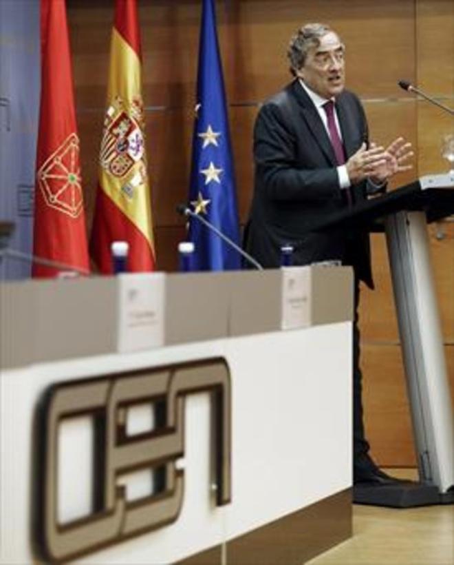 El presidente de la CEOE, Juan Rosell, durante un acto en Pamplona.