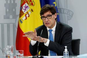 El ministro de Sanidad, Salvador Illa, durante una rueda de prensa