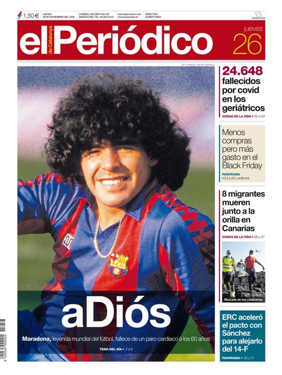 La portada d'EL PERIÓDICO del 26 de novembre del 2020