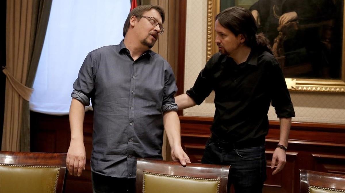 Xavier Domènech y Pablo Iglesias en el Congreso.
