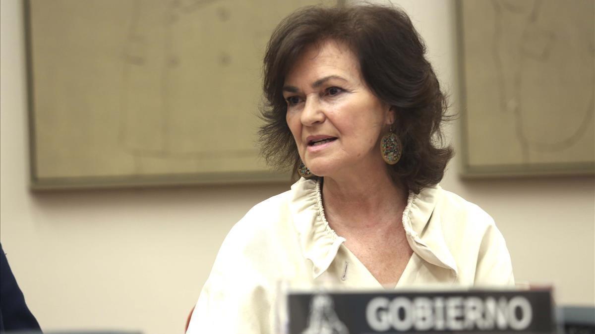 Momento de la comparecencia de la Vicepresidenta del Gobierno, Carmen Calvo.
