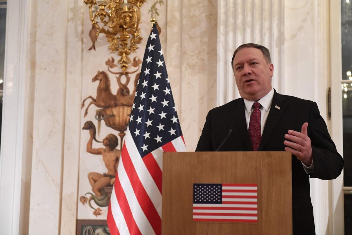 Mike Pompeo, el secretario de Estado de los EEUU en una conferencia de prensa.