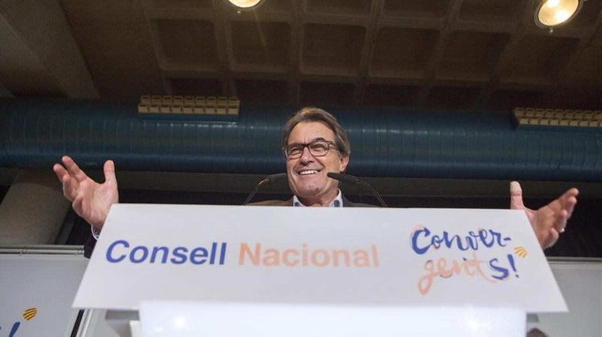 El presidente de la Generalitat, Artur Mas, este jueves, 30 de julio, en el consejo nacional de CDC.