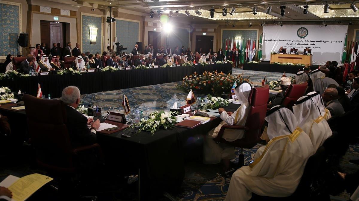Representantes de la Liga Árabe reunidos el martes en El Cairo.