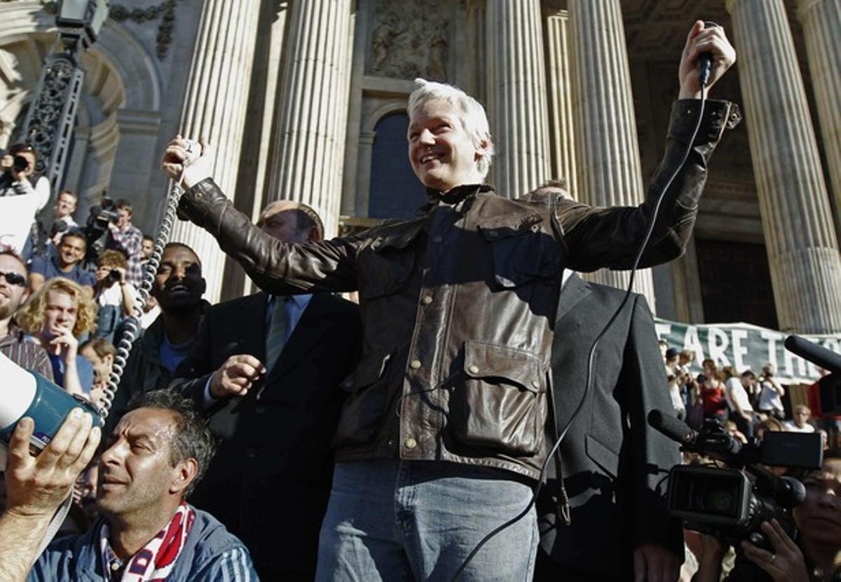 Julian Assange, en octubre, en Londres.