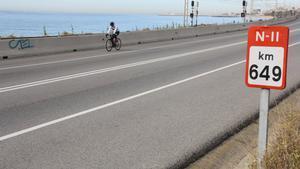 La carretera N-II en Mataró, sin tráfico.