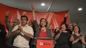 Ada Colau celebra la seva victòria, a la seu de Barcelona en Comú.