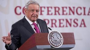 El presidente Andres Manuel Lopez Obrador durante su rueda de prensa este lunes en el Palacio Nacional de la Ciudad de México (México)