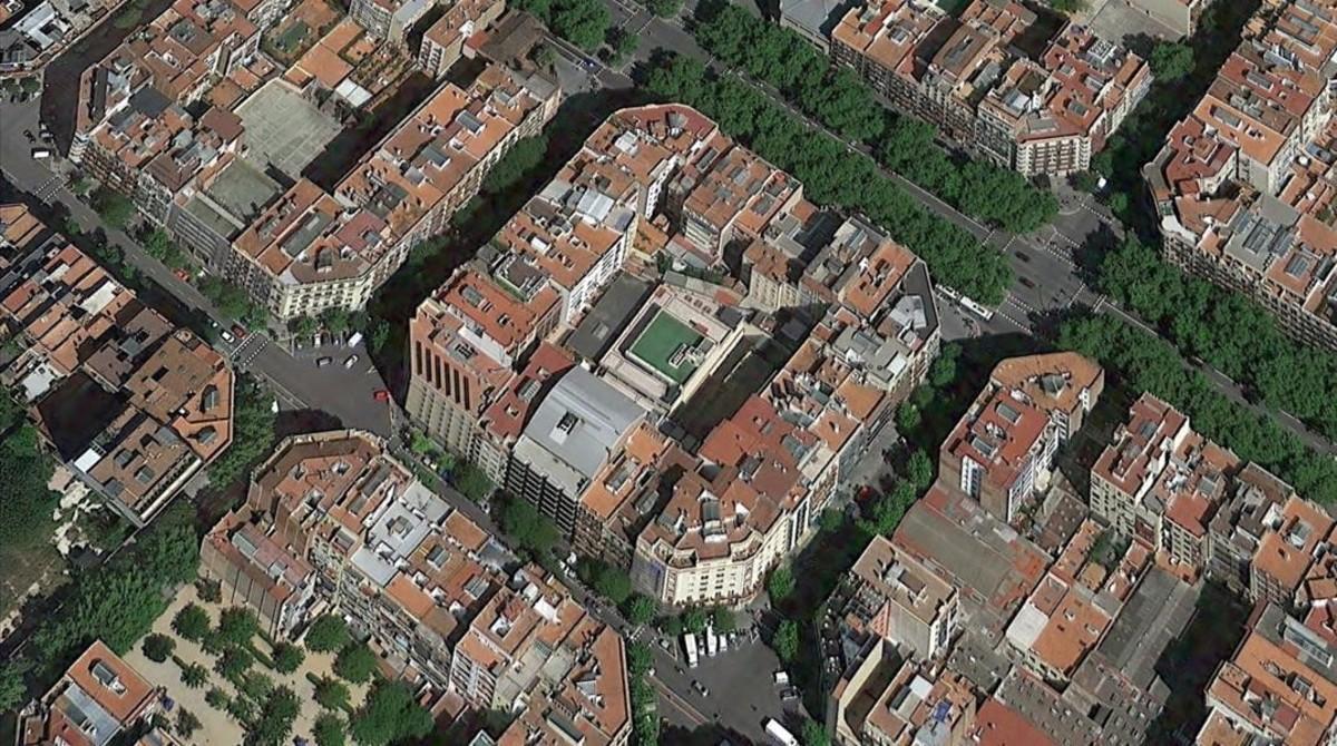 Cuadrícula del Eixample de Barcelona, entre las calles de Gran Via, Diputació, Calabria y Viladomat.