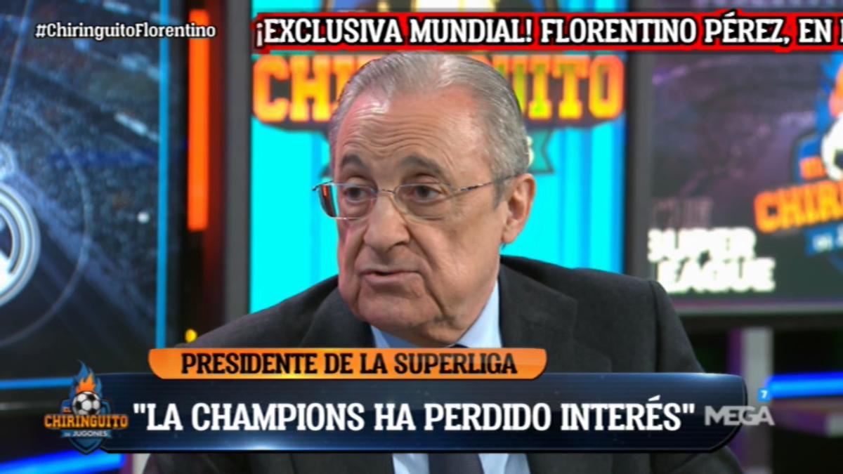 Florentino Pérez siendo entrevistado por Josep Pedrerol en 'El Chiringuito de Jugones'