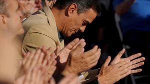 Pedro Sánchez, durante el mitin de cierre de campaña en Madrid, el pasado viernes.