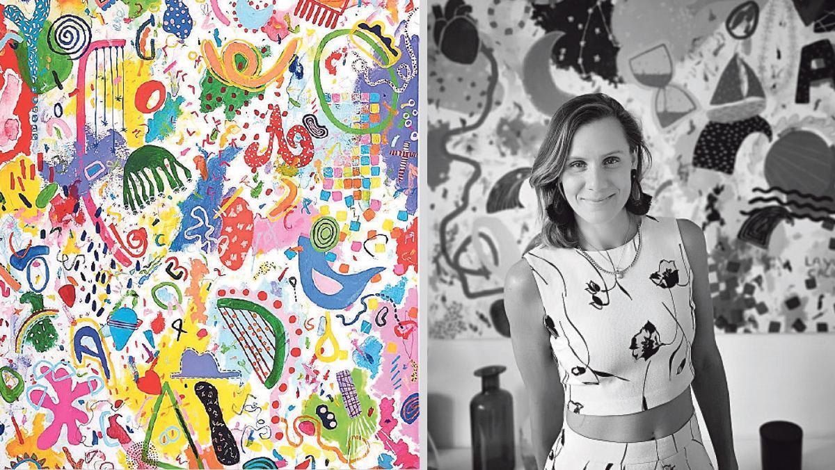La artista Mathilde Arthaud y su obra Eramos felices y lo somos.