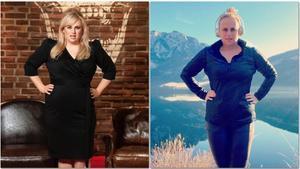 Rebel Wilson, antes y después de la dieta con la que ha perdido casi 20 kilos.