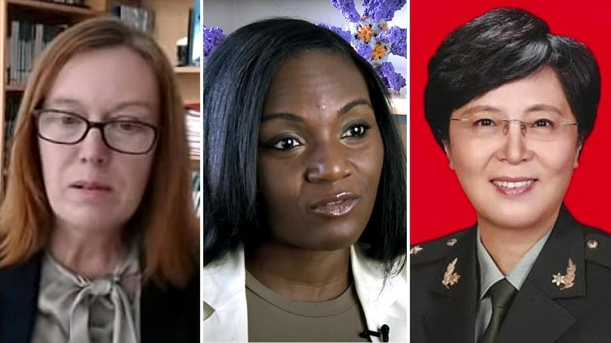 Sarah Gilbert, Kizzmekia Corbertt y Chen Wei.