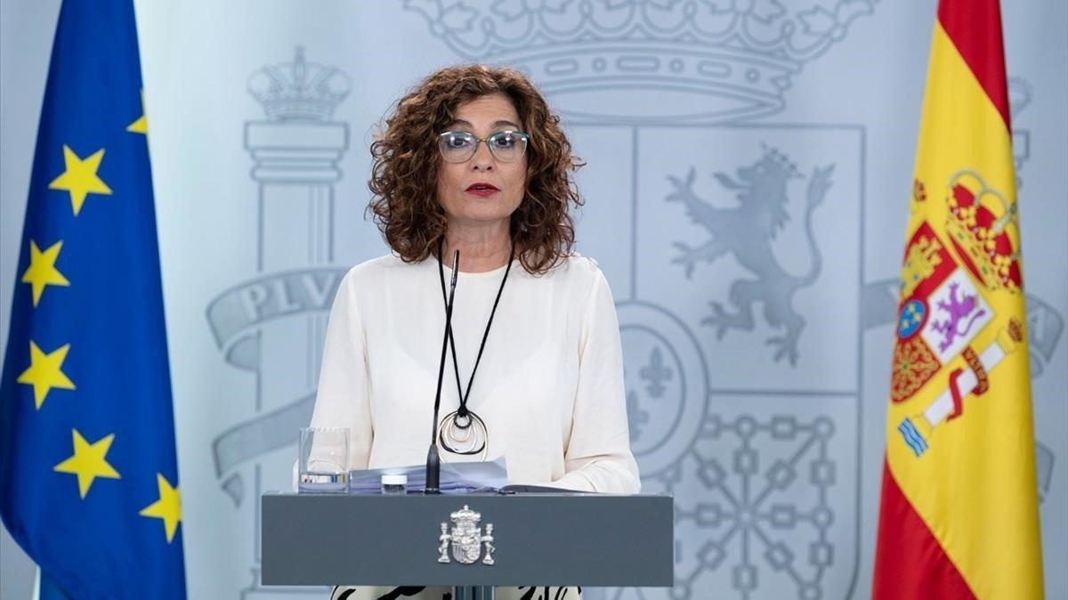 La ministra de Hacienda y portavoz del Gobierno, María Jesús Montero, en el Palacio de la Moncloa.